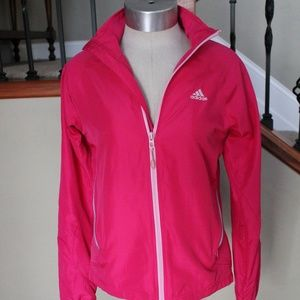 ADIDAS: Pink Zip-Up Jacket with Light Stripes